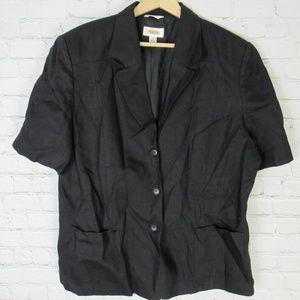 Talbots Jacket Blazer Womens Size 20 Black Linen
